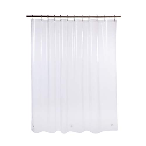 AmazerBath Plastic Shower Curtain, 72 W x 65 H EVA 8G Thick Bathroom Shower Curtains No Smell with Heavy Duty Clear Stones and 12 Rust-Resistant Grommet Holes-Clear