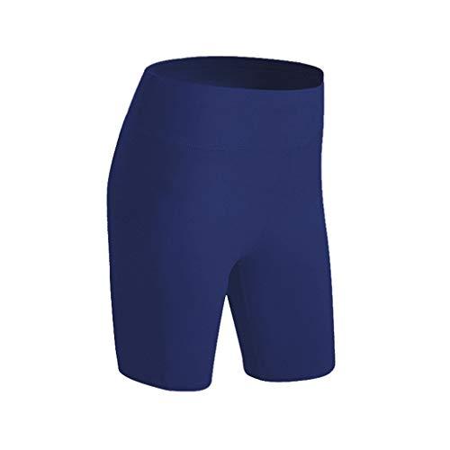 FEDULK Womens Leggings High Waist Activewear Tummy Control Workout Running Bike Stretch Yoga Shorts(Navy, Small)