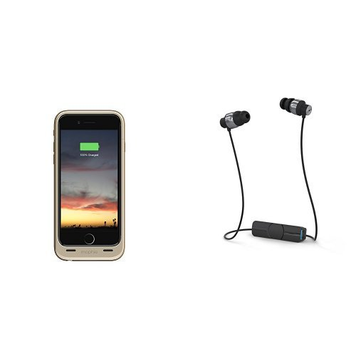 mophie juice pack air - Slim Protective Mobile Battery Pack Case for iPhone 6/6s - Gold and iFrogz Audio - Impulse Wireless Bluetooth Universal Headphones - Black / Silver bundle by mophie