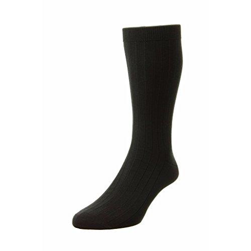 Pantherella Sea Island Cotton - Pantherella Pembrey Sea Island Cotton Over Calf Mens Socks, Black - Large