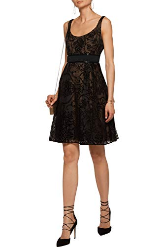 Marchesa Notte Flocked Silk-Tulle Dress Black Size 0