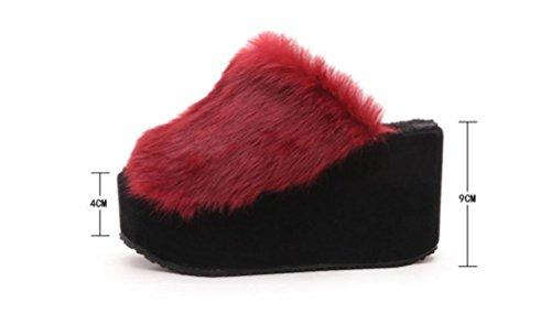 Casual E Interno Per Autunno In Donna Caldo Pantofole Mantenere Da Inverno 38 Nero Peluche Hvwf5wq