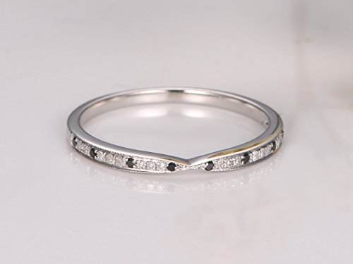 1/2 Eternity Clear and Black Diamond Wedding Band,Solid 14k White Gold Natural SI-H diamond Engagement Ring, Bridal Promise Ring Stack Matching Band by Gulajewel