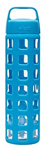 Ello Pure BPA-Free Glass Water Bottle with Lid, Blue Squares, 20 oz.