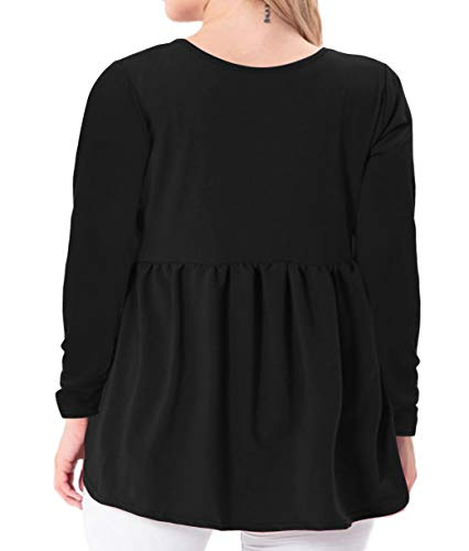 YASAKO Women's Plus Size Button Down Shirts Notch Henley V Neck Long Sleeve Pleated Flowy Blouses Casual Tunic Tops (Black, 2X-Large)
