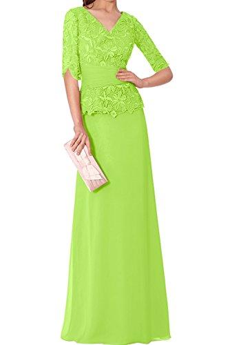 Neu Ivydressing Abendkleider Mutterkleider V Grün Chiffon Partykleider Spitze Halbarm Neck Wertvoll Tqq5p