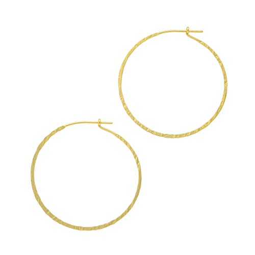 And Lovely 14K Gold Plated Hammered Texture Boho Chic Wire Hoop Earrings (Matte Gold 45mm)