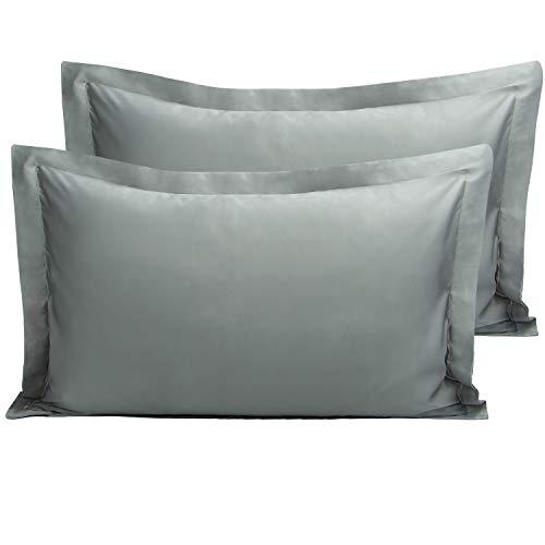 (NTBAY Satin Pilow Shams, 2 Pcs Super Soft and Luxury Pillowcases, Dark Grey, King)