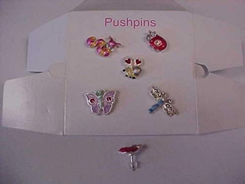 5 ENAMELED Ladybug BEE Butterfly Dragonfly Worm Assorted Colorful TACK PINS HDRY- 2561