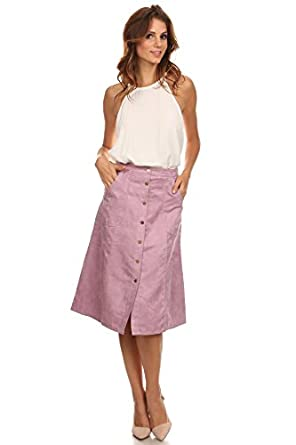Lilac - Purple Faux Suede A-Line Button Front Pocket Skirt at ...