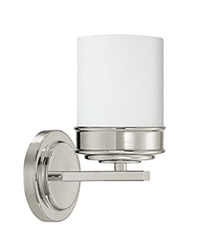 Langdon Mills Abbey Brushed Nickel Wall Sconce White Etched Opal Glass Shade Transitional - Etched Opal Glass Shade