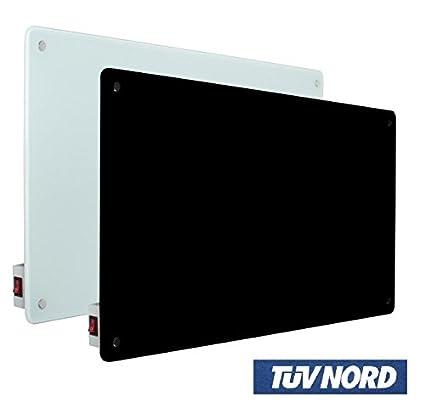 Radiador eléctrico de cristal para calefacción habitaciones de infrarrojos – Negro, No Incluida