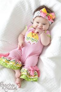 Peaches n' Cream Easter Chick Romper with Matching Headband