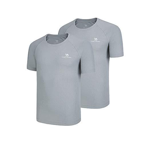 - Camel 2 Packs Men Quick Dry T-Shirt Short Sleeves Moisture Wicking Tees Package Breathable Crewneck Shirts Packs for Running