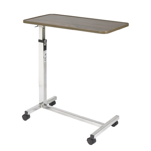 Drive Medical Tilt Top Overbed Table, Walnut