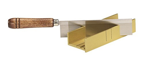 Olson Saw 35-241 Fine Kerf Saw 35-550 42 tpi with Aluminum Thin Slot Miter Box, Slot Size .014-Inch, Slot Angles 30, 45, 90, Cutting Depth 7/8-Inch (Razor Miter Saw)