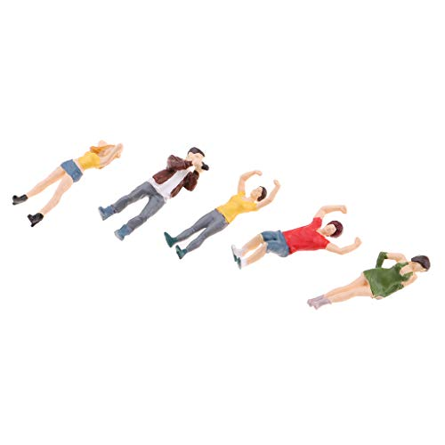 (Flameer 5PCs 1:64 Scale Resin Painted Figures, Standing People Layout for Playing Field Miniature Scenes,)