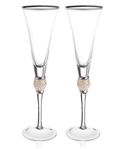 Trinkware Set of 2 Champagne Flutes - Rhinestone DIAMOND Studded Glasses With Silver Rim - Long Stem, 7oz, 11-inches Tall – Elegant Glassware And Stemware Clear 7 Ounce Flute