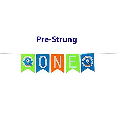 E&L Monsters Q Baby Boy First Birthday Banner, Monster Themed Pennant One Banner, for Baby Boy Birthday Party Supplies-No Self-Assembly Required.: Kitchen & Dining