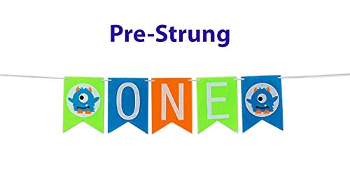 E&L Monsters Q Baby Boy First Birthday Banner, Monster Themed Pennant One Banner, for Baby Boy Birthday Party Supplies-No Self-Assembly Required. -