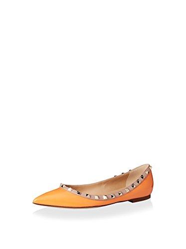 Valentino Women's Rockstud Ballet Flat, Orange, 38 M EU/8 M - Valentino Online