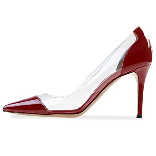 YODEKS Women's Pointed Toe Pumps High Heels Burgundy Wedding Shoes Prom Dress Patent Leather Pumps US8