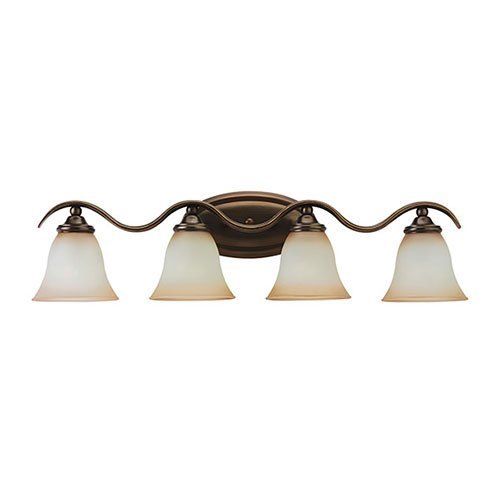 Sea Gull Lighting 44362-829 4-Light Rialto Vanity and Bath Bar, Ginger Glass Shades and Russet Bronze