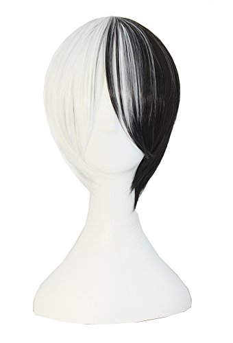 Anime Couples Black And White (MapofBeauty Mixed Color Short Straight Cosplay Costume Wig)