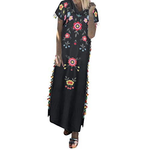 Summer Dresses for Women Vintage Printed Ethnic Style Shift Dress Tassel Casual Loose V Neck Beach Maxi Long Dress Black ()