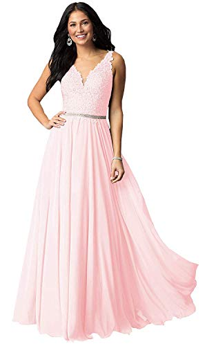Women's V Neck Lace Bodice Chiffon Party Dresses Long Formal Evening Prom Gowns (Blush Pink,12) ()