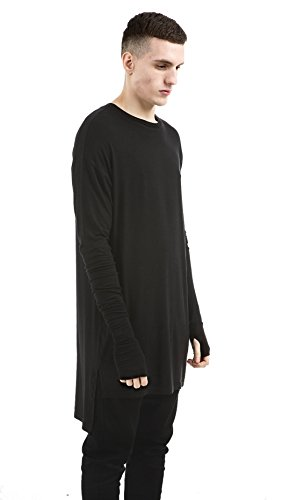 OLRIK Mens Hip Hop Free Styles Swag Stage Curved Hem Long Sleeve T Shirt  Black M 275694975851