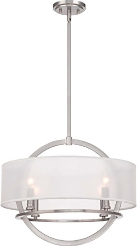 Quoizel PTD2820BN Portland White Organza Pendant Ceiling Lighting, 4-Light, 240 Watts, Brushed Nickel (17