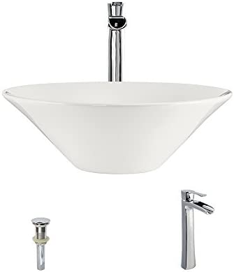 V220-Bisque Porcelain Vessel Sink Chrome Ensemble with 731 Vessel Faucet Bundle – 3 Items Sink, Faucet, and Pop Up Drain