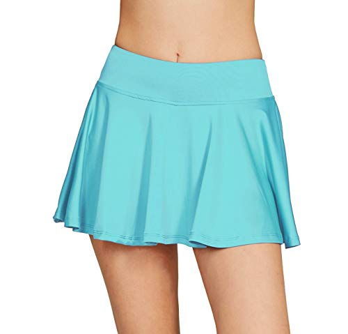 - Cityoung Women's Basic Stretchy Pleated Athletic Skirt Tennis Quick Dry Active Skorts with Shorts Inner M Light Blue
