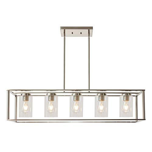 VINLUZ Contemporary Chandeliers Brushed Nickel 5 Light Modern Vintage Dining Room Lighting Fixtures Hanging, Kitchen…
