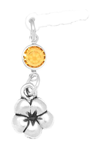 Plumeria Flower Cell Phone Charm - Clayvision Plumeria Flower Phone Charm with Topaz Colored Crystal November White Plug
