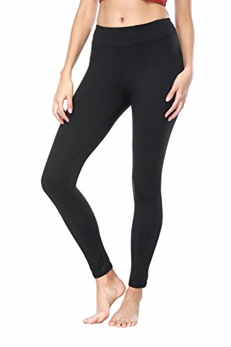 THE GYM PEOPLE Tummy Control Workout Yoga Leggings Women Black Power Flex Running Fitness Pants Non See-Through Fabric (Medium, Black)