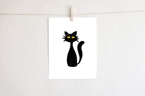 Barnett Duncan Black Cat Printable Halloween Inspired Art 8X10 Wall Art Home Decor Party Decor Holiday Decor -