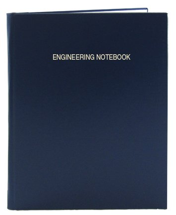 BookFactory Engineering Notebook - 96 Pages (.25'' Engineering Grid Format), 8 7/8'' x 11 1/4'', Engineering Lab Notebook, Blue Cover, Smyth Sewn Hardbound (EPRIL-096-LGS-LBT4) by BookFactory