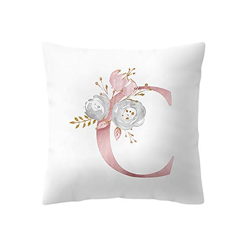 Throw Pillow Covers, E-Scenery Further Reductions! Alphabet (A-Z) Square Decorative Throw Pillow Cases Cushion Cover for Sofa Bedroom Car Home Decor, 18 x 18 Inch (C) ()
