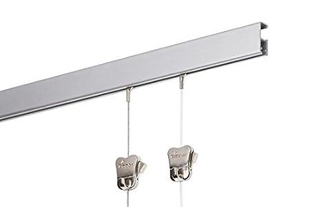 Stas binario Cliprail Pro 2 metri con corde e ganci (2, BIANCO) Stas Picture Hanging System