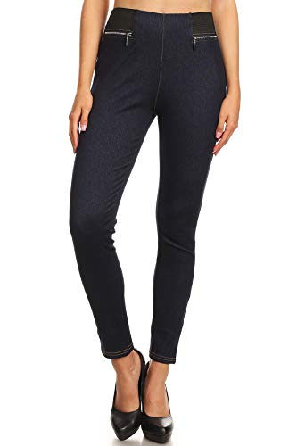 LA12ST Women's Blue Elastic Zipper Jean Look Jeggings Tights Spandex Leggings Denim Pants
