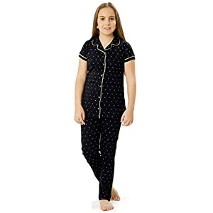 ZEYO Girl's Cotton Navy Blue Night Suit & Night Shirt| Front Open Night Dress with Triangle Print