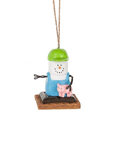 """Midwest 2.75"""" Blue and White Farmer with Piglet Marshmallow Christmas Ornament"""