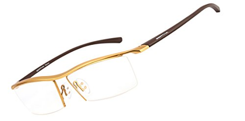 Bertha Men Z Pure Titanium Semi-rimless Eyewear Business Optical Glasses Frame 8189 (Gold)