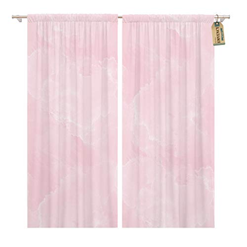 Golee Window Curtain Watercolor Wall Pink Marble Pattern Purple Pretty Dye Ink Home Decor Rod Pocket Drapes 2 Panels Curtain 104 x 84 inches