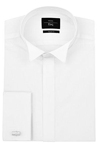 Front Tuxedo Shirt (Moss Esq. Men's Regular Fit Double Cuff Wing Collar Tuxedo Dress Shirt 16.5 inches White)