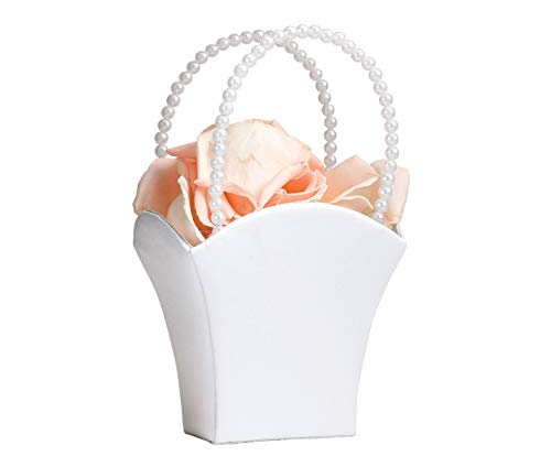 - White Flower Basket Flower Girl Basket