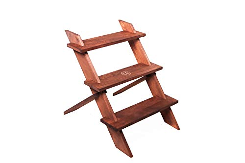 Craft Display Shelf Stand for Bath Bombs, Retail Craft Shows, Wooden 3 Tier Ladder Shelf, Rustic Cupcake Stand, No Tools Required Easy Assembly