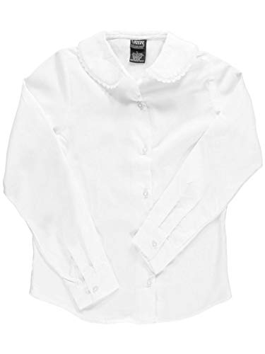French Toast Big Girls' L/S Blouse with Lace Edging - White, 10